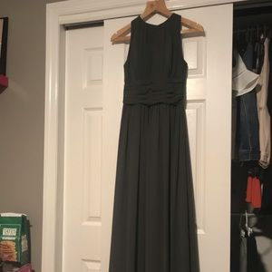 Bill Levkoff Long Gray Dress: PROM OR WEDDING